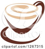 Clipart Of A Two Toned Tan And Brown Coffee Cup On A Saucer 2 Royalty Free Vector Illustration