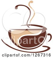 Clipart Of A Two Toned Tan And Brown Steamy Coffee Cup On A Saucer 6 Royalty Free Vector Illustration