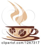 Clipart Of A Two Toned Tan And Brown Steamy Coffee Cup With Beans On A Saucer Royalty Free Vector Illustration