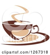 Clipart Of A Two Toned Tan And Brown Steamy Coffee Cup On A Saucer 7 Royalty Free Vector Illustration