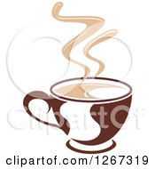 Clipart Of A Two Toned Tan And Brown Steamy Coffee Cup 2 Royalty Free Vector Illustration