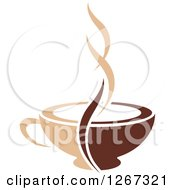 Clipart Of A Two Toned Tan And Brown Steamy Coffee Cup 4 Royalty Free Vector Illustration