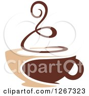Clipart Of A Two Toned Tan And Brown Steamy Coffee Cup 5 Royalty Free Vector Illustration