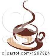 Clipart Of A Two Toned Tan And Brown Steamy Coffee Cup On A Saucer 1 Royalty Free Vector Illustration