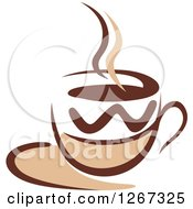 Clipart Of A Two Toned Tan And Brown Steamy Coffee Cup On A Saucer 2 Royalty Free Vector Illustration