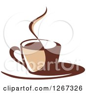Clipart Of A Two Toned Tan And Brown Steamy Coffee Cup On A Saucer 3 Royalty Free Vector Illustration