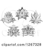 Clipart Of Black And White Beautiful Henna Lotus Flowers Royalty Free Vector Illustration