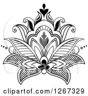Clipart Of A Black And White Beautiful Henna Lotus Flower Royalty Free Vector Illustration