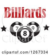 Clipart Of Black And White Billiards Pool Balls And Stars Under Red Text Royalty Free Vector Illustration