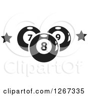 Clipart Of Black And White Billiards Pool Balls And Stars Royalty Free Vector Illustration