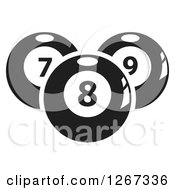 Clipart Of Black And White Billiards Pool Balls Royalty Free Vector Illustration