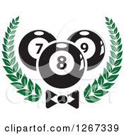 Clipart Of Billiards Pool Balls In A Wreath Over A Bow Tie Royalty Free Vector Illustration