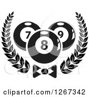Clipart Of Black And White Billiards Pool Balls In A Wreath Over A Bow Tie Royalty Free Vector Illustration
