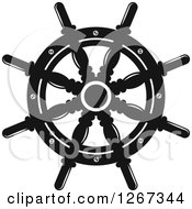 Clipart Of A Black And White Nautical Ship Helm Steering Wheel 2 Royalty Free Vector Illustration
