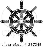 Clipart Of A Black And White Nautical Ship Helm Steering Wheel 3 Royalty Free Vector Illustration