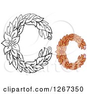 Clipart Of Floral Capital Letter C Designs With A Flower Royalty Free Vector Illustration