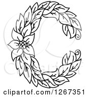 Clipart Of A Black And White Floral Capital Letter C With A Flower Royalty Free Vector Illustration