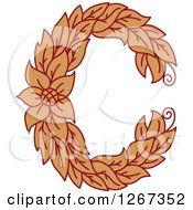 Clipart Of A Floral Capital Letter C With A Flower Royalty Free Vector Illustration