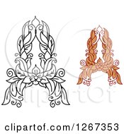 Clipart Of Floral Capital Letter A Designs With A Flowers Royalty Free Vector Illustration