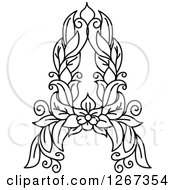 Clipart Of A Black And White Floral Capital Letter A With A Flower Royalty Free Vector Illustration