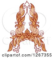 Clipart Of A Floral Capital Letter A With A Flower Royalty Free Vector Illustration