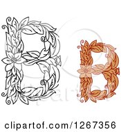 Clipart Of Floral Capital Letter B Designs With Flowers Royalty Free Vector Illustration