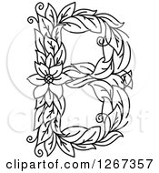 Clipart Of A Black And White Floral Capital Letter B With A Flower Royalty Free Vector Illustration