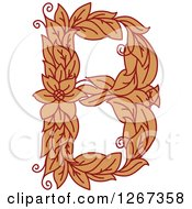 Clipart Of A Floral Capital Letter B With A Flower Royalty Free Vector Illustration