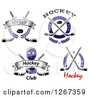 Clipart Of Hockey Mask Puck And Stick Designs Royalty Free Vector Illustration