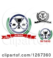 Clipart Of Trophy And Ice Hockey Designs Royalty Free Vector Illustration