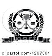Clipart Of A Black And White Trophy With Crossed Hockey Sticks And Pucks In A Circle And Laurel Wreath Over A Blank Banner Royalty Free Vector Illustration by Vector Tradition SM