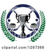 Clipart Of A Trophy Over Crossed Hockey Sticks With Pucks In A Circle With Laurel Branches Royalty Free Vector Illustration by Vector Tradition SM