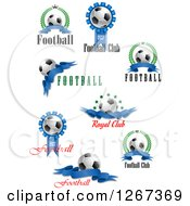 3d Soccer Balls And Blue Ribbons