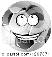 Grayscale Happy Soccer Ball Looking Up