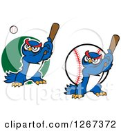 Clipart Of Cartoon Blue Owl Baseball Players Batting Royalty Free Vector Illustration