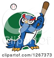 Clipart Of A Cartoon Blue Owl Baseball Player Batting Over A Green Circle Royalty Free Vector Illustration