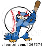 Clipart Of A Cartoon Blue Owl Baseball Player Batting Over A Ball Royalty Free Vector Illustration