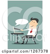 Clipart Of A Businessman Shaking Hands With A Partner Through A Computer Royalty Free Vector Illustration