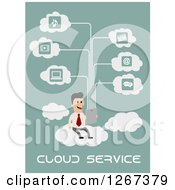 Clipart Of A Businessman Cloud Computing Over Green With Text Royalty Free Vector Illustration by Vector Tradition SM