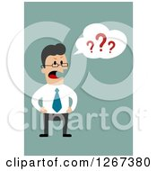 Clipart Of A Mad Boss Shouting And Asking Questions Over Green Royalty Free Vector Illustration