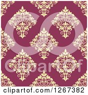 Clipart Of A Seamless Pattern Background Of Vintage Yellow Floral Damask On Pink Royalty Free Vector Illustration