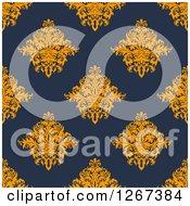 Clipart Of A Seamless Pattern Background Of Vintage Orange Floral Damask On Navy Blue Royalty Free Vector Illustration