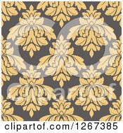 Clipart Of A Seamless Pattern Background Of Vintage Tan Floral Damask On Taupe Royalty Free Vector Illustration