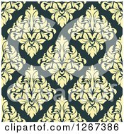 Clipart Of A Seamless Pattern Background Of Vintage Yellow Floral Damask On Teal Royalty Free Vector Illustration