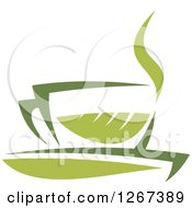 Poster, Art Print Of Two Toned Steamy Hot Green Tea Cup