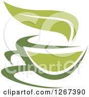 Poster, Art Print Of Two Toned Steamy Green Tea Cup And Steam Leaf