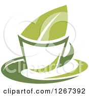 Poster, Art Print Of Two Toned Steamy Hot Green Tea Cup And Leaf