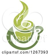 Poster, Art Print Of Two Toned Hot Green Tea Cup And Steam Leaf
