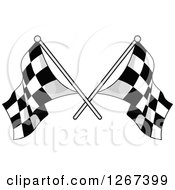 Crossed Grayscale Checkered Racing Flags