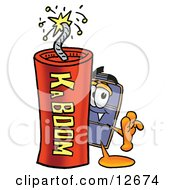 Clipart Picture Of A Suitcase Cartoon Character Standing With A Lit Stick Of Dynamite